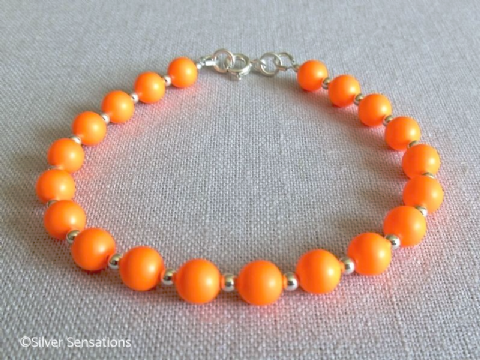 Bright Neon Orange Swarovski Pearls & Sterling Silver Beads Bracelet